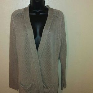 Ann Taylor open front sweater beige size large